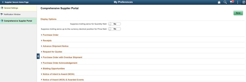 My Preferences Comprehensive Supplier Portal