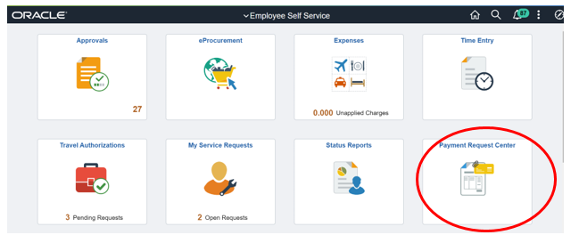 Payment Request Center tile on Employee Self Service homepage