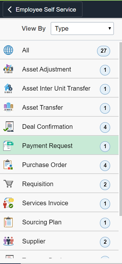 Payment Request Employee Self Service