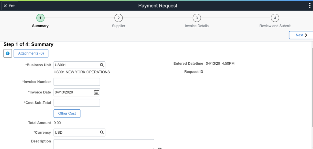 Payment Request Center Step 1