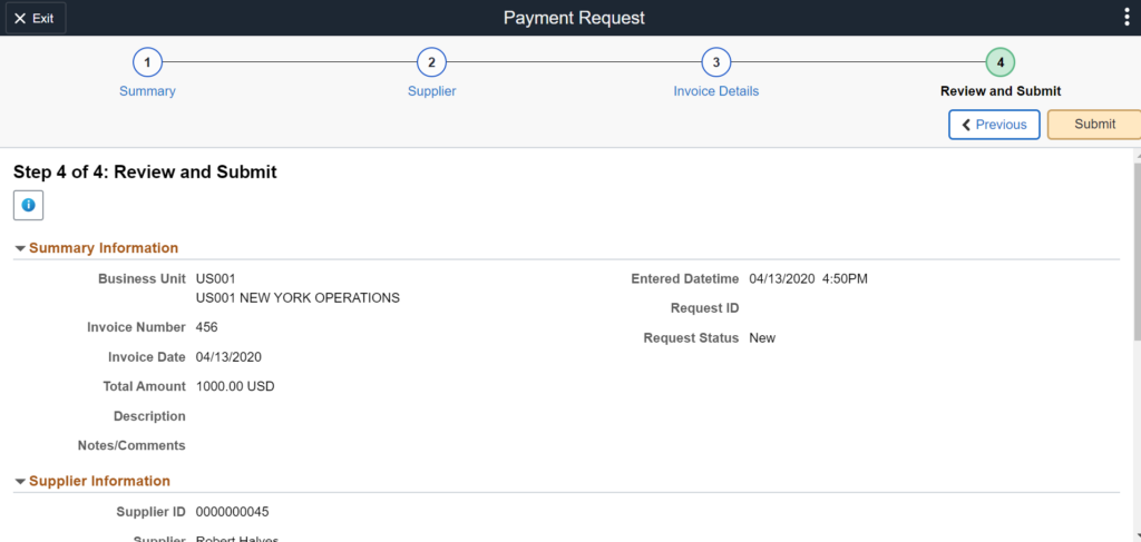 Payment Request Center Step 4