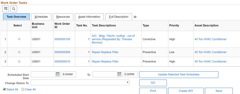 Work Order Tasks in FSCM PUM Image 35