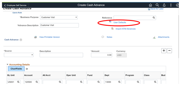 User Defaults - Cash Advance
