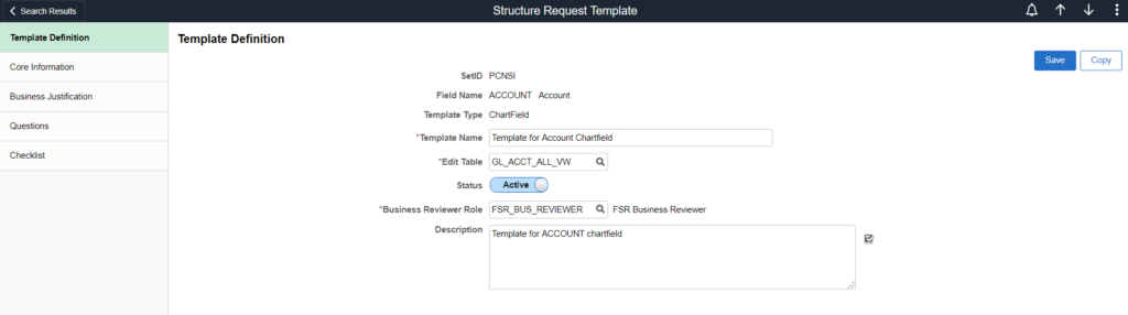 Structure Request Template Definition