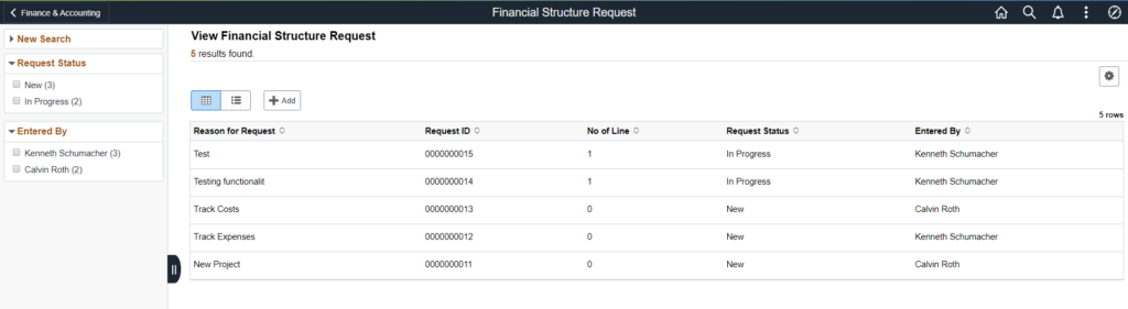 View Financial Structure Request